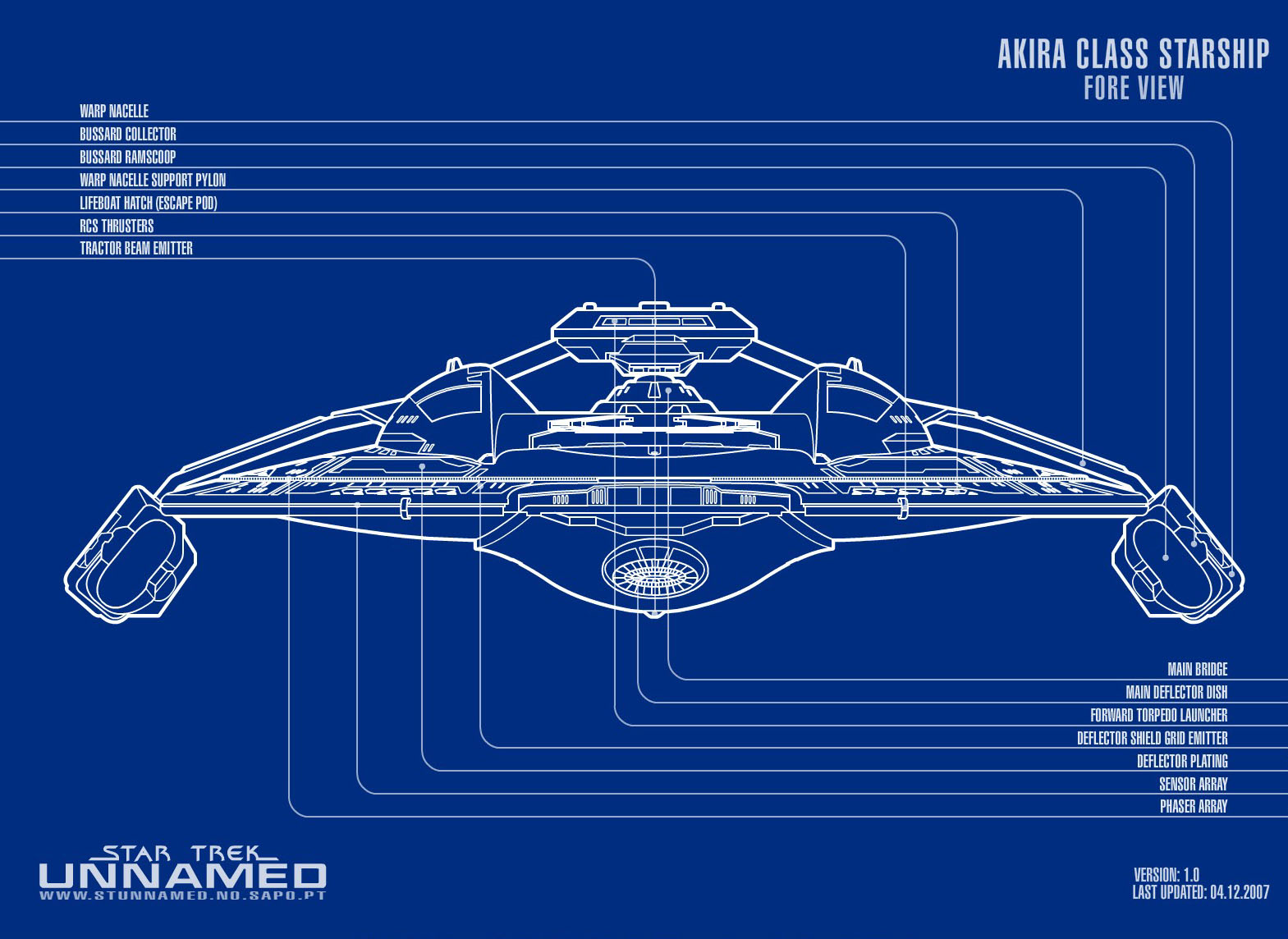 Akira Class Starship Blueprints http://starfleet.unblog.fr/category/plans-schematiques/page/4/